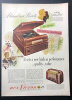 Original 1948 Magazine Print Ad RCA VICTOR Radio-Phonograph Table Radio