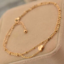 Women  Gold Tone Love Heart Ankle Bracelet Double Layer Chain Foot Anklet