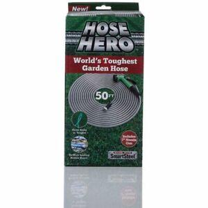 HOSE HERO STEEL PIPE METAL GARDEN FLEXIBLE WATER HOSE 50FT WITH NOZZLE GUN