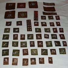 ANTIKE Buchstaben Kupfer Schablone Monogramm Stickerei Aussteuer 54 Stück