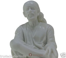 "11"" BIG SHRI SHIRDI SAI BABA STATUE IDOL MURTI HANDMADE OF WHITE POLY MARBLE ART"