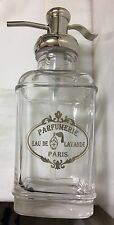 HOTEL BALFOUR SILVER APOTHECARY GLASS LIQUID SOAP PUMP DISPENSER