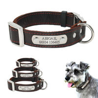Real Genuine Leather Personalised Dog Collar Dog ID Name Phone Tags Engraved