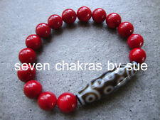 Feng Shui - 21 Eye DZI + 10mm Red Coral