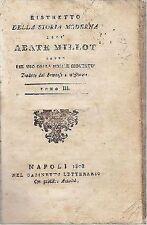 RISTRETTO DELLA STORIA ROMANA 2 volumi di Abate Millot 1808 gabinetto letterario