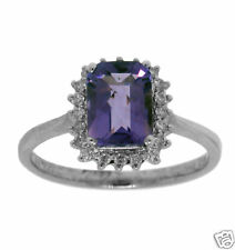 Diamond Ring 14K Wg 1.67ctw Amethyst & Round Anniv/Eng
