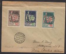 LETTONIE : Enveloppe Affrt à 3 timbres 10 k +23k +1 R Oblt CàDate LEEPAJA LATWIJ