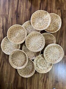 Vtg Lot of 12 Wicker Rattan Bamboo Paper Plate Holders Basket Wall decor boho