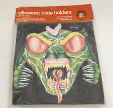 retro Halloween green monster paper plate holders and plates forget me not