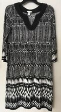 ~NICE~CHICO'S Size 1 OR 8/10 M Dress Black White Stretch Knit