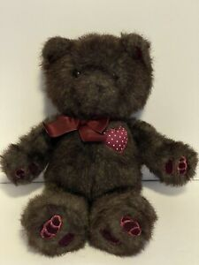 VTG RARE Dakin 1987 brown bear with bowtie and maroon heart Made In Thailand