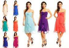 Damen trägerloses Cocktailkleid Abiballkleid Abendkleid Chiffonkleid Kleid 3081