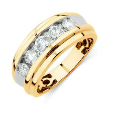 1.25 Ct Real Diamond Engagement Ring 14K Solid Yellow Gold Men's Band Size 10 11
