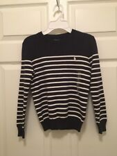 Nwt Boys Size 8 White And Navy Blue Stripped Polo Ralph Lauren Sweater