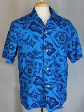 Vtg Men's 1960s Ui-Maikai Hawaiian Aloha Blue Cotton Island Map Shirt sz L ?