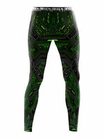 Raven Fightwear Men's Cybernetic Leggings Spats MMA BJJ Green