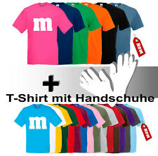 M&M Damen Herren T-Shirt Fans Karneval Fasching Gruppenkostüm mit Handschuhe