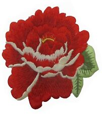 "#5089R 3 1/2"" Red Rose Herbaceous Peony Flower Embroidery Iron On Applique Patch"