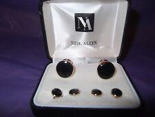 of 4 Studs ~ Gold Tone Neil Allyn Black Cufflinks & Set
