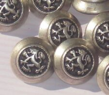 FAB Set 11 LION RAMPANT Vintage Antiqued SILVER MeTaL new Picture Buttons Livery