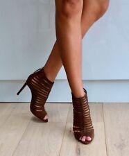 ZaraBrown Khaki Suede Look Gladiator Strappy High Heel Sandals 6 6.5 39