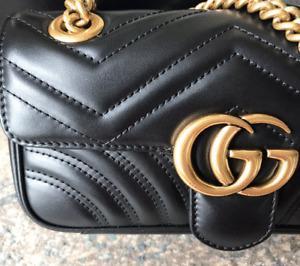 GUCCI Marmont Matelassé Mini Shoulder Bag - Black