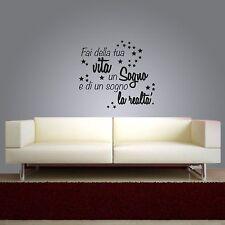 wall stickers frase fai della tua vita un sogno adesivo murale citazioni a0184