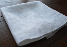 VINTAGE WHITE LINEN DAMASK GUEST TOWEL HEMSTITCHED EDGES NEOCLASSIC FLORAL