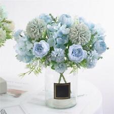 7-Head Artificial Silk Fake Flowers Peony Wedding Floral Bouquet Lake Blue
