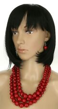 3 Multi Strand Bead Jewelry Earring Chain Super Chunky Red Pearl Necklace Set