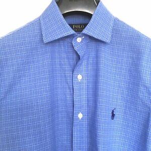 Polo Ralph Lauren blue shirt Medium M 15 1/2 39 check long sleeves button up