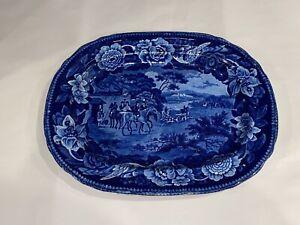 Historical Staffordshire Dark Blue Platter Fox Hunting Horses Ca. 1825