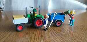 Playmobil   Bauernhof  Trecker mit Anhänger bei Heuernte