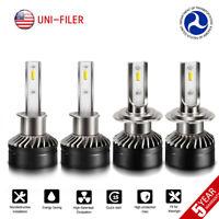 H1 + H7 Combo 12000LM 2-Sides LED Headlight Kit Hi/Low Beam Light Bulb 6000K Car