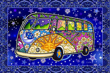 "Peace Van ""Road Trip"" DeadHead Hippie Tapestry ©Dan Morris 28""x42"" Wall Hanging"