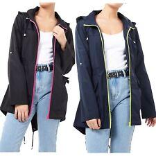 Ladies Showerproof Contrast Neon Zip Fish Tail Hooded Mac Rain Coat Jacket 8-16