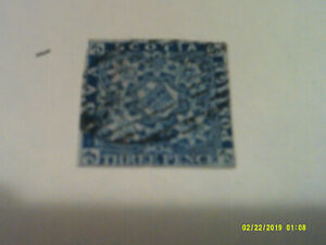 Nova Scotia Queen Victoria 3d blue imperf nice whole stamp