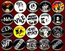 "Hardcore Punk 20 1"" pin button badge kbd vile koro CIA kraut chronic sick abused"