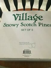 Department 56 Village Snowy Scotch Pines set of 3 original box made of resin