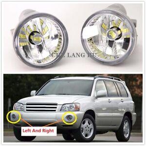 Pair For Toyota Highlander 2004 2005 2006 2007 LED Fog Light Lamp With LED Bulbs