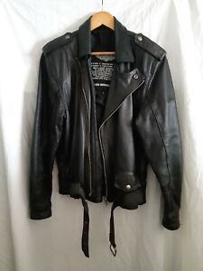 Mens Atelier motorcycle riders black leather jacket size Small