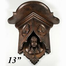 Antique Carved Black Forest or French Figural Gothic Wall, Bracket, Clock Shelf