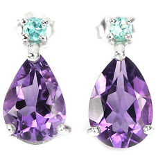 Sterling Silver 925 Genuine Natural Amethyst and Paraiba Blue Apatite Earrings