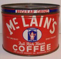 Vintage 1950s McLAIN COFFEE GRAPHIC KEYWIND COFFEE TIN ONE POUND MASSILLON OHIO
