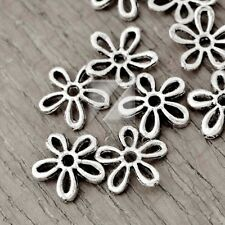100pcs Tibetan Silver Spacer Loose Metal Charm Beads Jewelry Flower 12x12x2mm