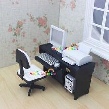 1:12 Dolls House Miniature Office Furniture Desk Computer Chair Printer Wood 4pc