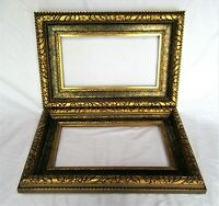 "2 VINTAGE FITS 7"" X 13""  GOLD GILT DEEP ORNATE WOOD PICTURE FRAME ART VICTORIAN"