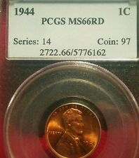 1944 RED Copper LINCOLN Cent in GEM PCGS MS-66! Tough date! NICE RED COLOR! WOW