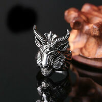 Gothic Men's Stainless Steel Finger Band Animal Head Punk Biker Ring Jewelry