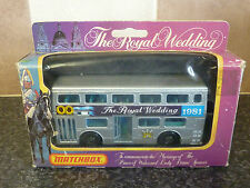 MATCHBOX No.KRW-15 THE ROYAL WEDDING 1981 SILVER DOUBLE DECKER BUS MINT & BOXED